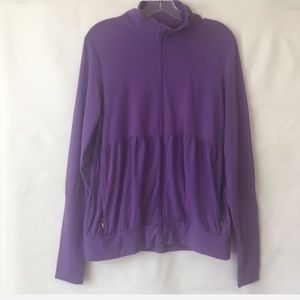 Lucy Purple Ruched Zip Up Athletic Jacket